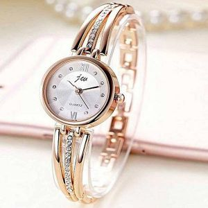 Golden Stainless Steel Analogue Watch For Women-RNF0036