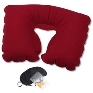 3 In 1 Travel Selection -  Neck Pillow, Earplug, Eye Cover - Maroon