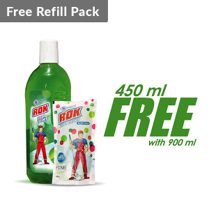 ROK Lemon Floor Cleaner 900 ml (Free 450 ml Floor Cleaner Refill Pack)