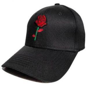 Red Rose Printed Logo Denim Baseball Cap For Men