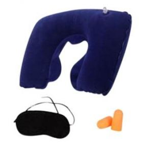 3 In 1 Travel Selection - Neck Pillow, Earplug, Eye Cover  - Navy Blue