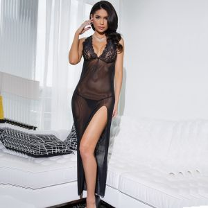 Black Sheer Cowl Back Gown With Matching G-String