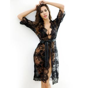 Sheer Transparent Lace Nighty With Matching G-String