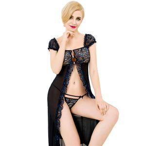 Lace Princess Embroidered Night Robe with Matching G-String