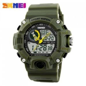 Skmei 1029 Double Movt Army LED Watch - ARMY GREEN