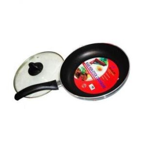 20 CM Non Stick Fry Pan with Glass Lid With Free Oil Stainer - Black and Silver