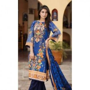 Multicolor Cotton Unstitched Digital Printed Lawn for Women
