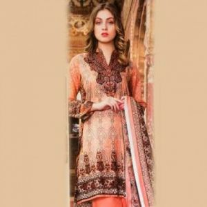 Multicolor Cotton Unstitched Pakistani Lawn For Women-DKF0090