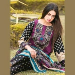 Multicolor Cotton Unstitched Pakistani Lawn for Women-DKF0091