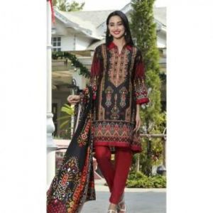 Multicolor Cotton Unstitched Digital Printed Lawn for Women-DKF0092