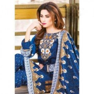 Multicolor Cotton Unstitched Pakistani Lawn for Women-DKF0094