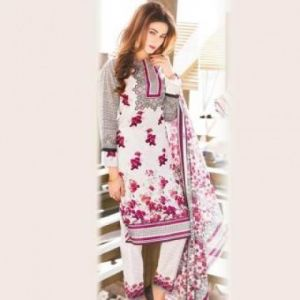 Multicolor Cotton Unstitched Pakistani Lawn For Women-DKF0095