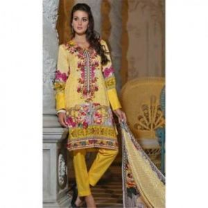 Multicolor Cotton Unstitched Digital Printed Lawn for Women	DKF0097