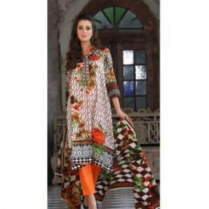 Multicolor Cotton Unstitched Digital Printed Lawn for Women	DKF0098