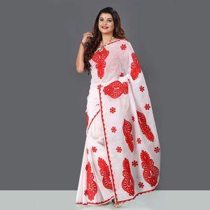 Exclusive Baishakhi Silk Applique Saree For Women