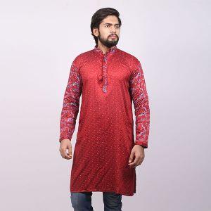 Red Printed  Cotton Panjabi For Men