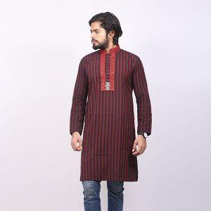 Red Stripe Cotton Panjabi For Men