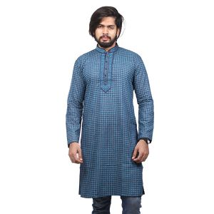 Teal Printed Cotton Panjabi For Men