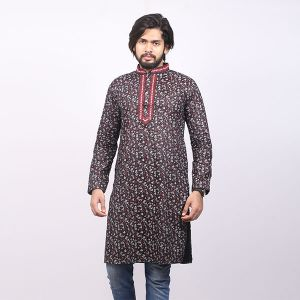 Black and Red Printed Cotton Panjabi For Men