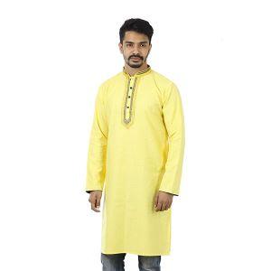 Yellow Solid  Cotton Panjabi For Men