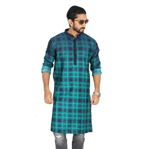 Light Green and Red Printed Cotton Panjabi For Men