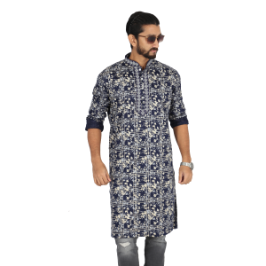 Black  Printed Cotton Panjabi For Men
