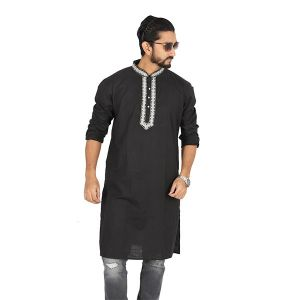 Black  Solid Cotton Panjabi For Men
