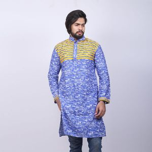 Blue and Yellow  Printed Cotton Panjabi For Men