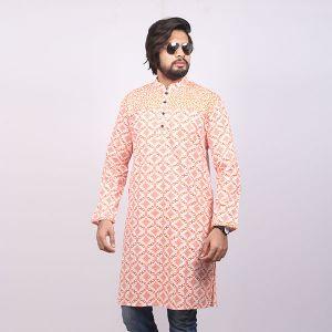 White  and Orange Printed Cotton Panjabi For Men