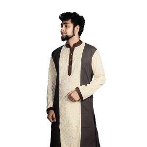Gray Printed Cotton Panjabi For Men