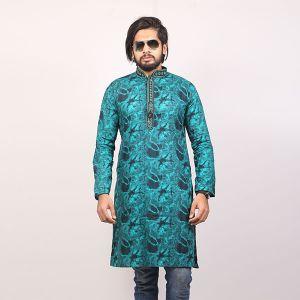Green  Printed Cotton Panjabi For Men