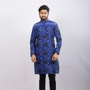 Blue Printed Cotton Panjabi For Men