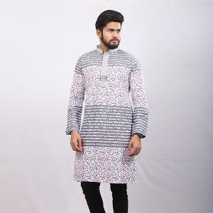 White and Black  Printed Cotton Panjabi For Men