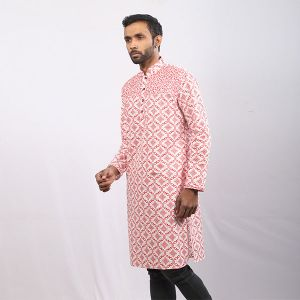 White and Red  Printed Cotton Panjabi For Men
