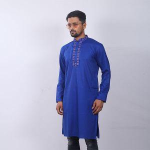 Blue Chinigura  Cotton Panjabi For Men