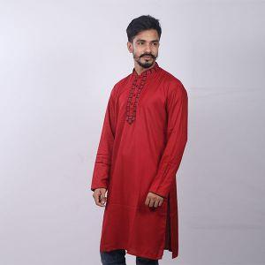 Red Chinigura  Cotton Panjabi For Men