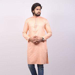 Light Orange Printed  Cotton Panjabi For Men