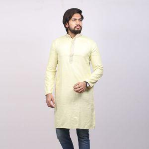 Yellow Printed  Cotton Panjabi For Men